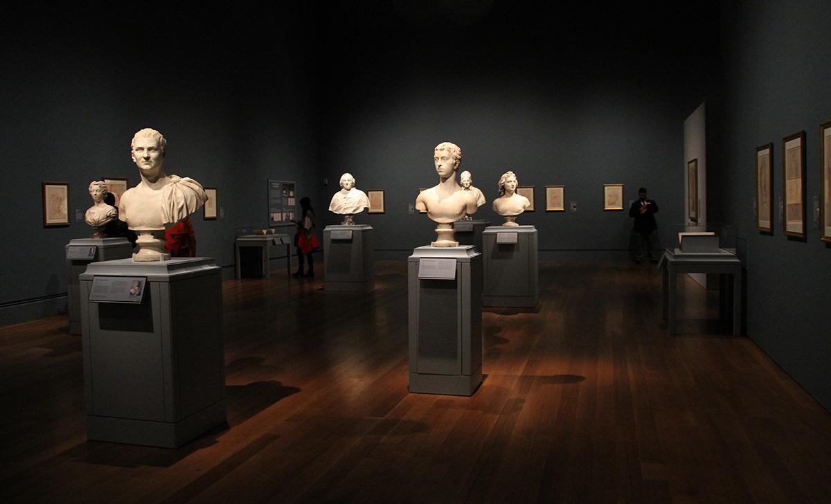 Sculptures in a museum