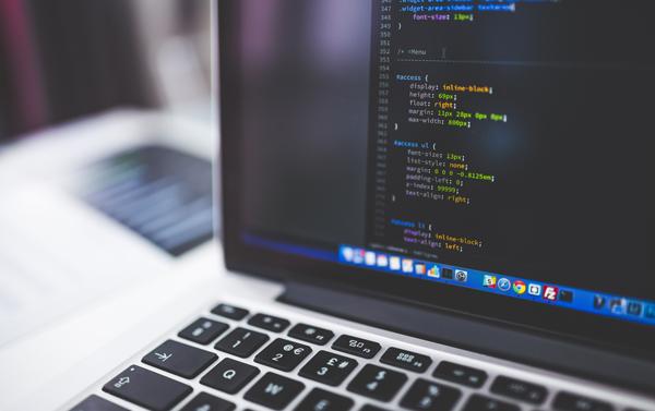 Code displayed on laptop screen